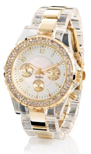 Crell-Elegante-Quarz-Armbanduhr-transparent-gold-0