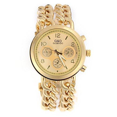 Easy-Provider-Damen-Modeuhr-Armbanduhr-Armreifen-Armkette-Uhr-Damenuhr-Gold-Charms-0