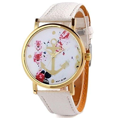 HITOP-Vintage-Retro-Blume-Damen-Armbanduhr-Basel-Stil-Anker-Blumen-Leather-Quarz-uhr-Lederarmband-Uhr-Top-Watch-wei-0