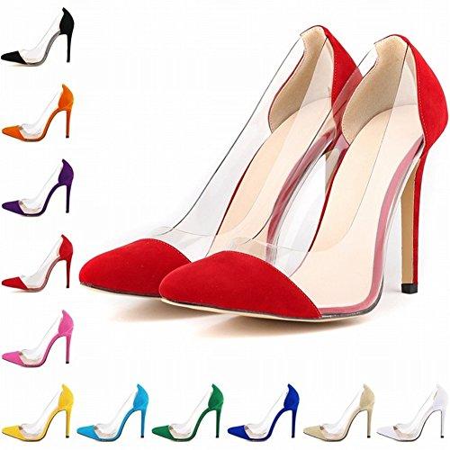 HooH-Damen-Bro-Dame-Transparent-Pointed-toe-Rutsch-Stiletto-Abendschuhe-Pumps-0