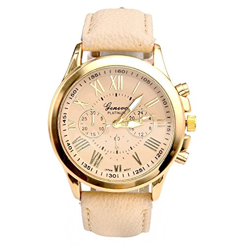 JS-Direct-UhrenElegant-Damen-Candy-Rmisch-Ziffern-Chronograph-ArmbanduhrKunstleder-Band-Analog-QaurzuhrMit-DE-Flagge-Armband-Beige-0