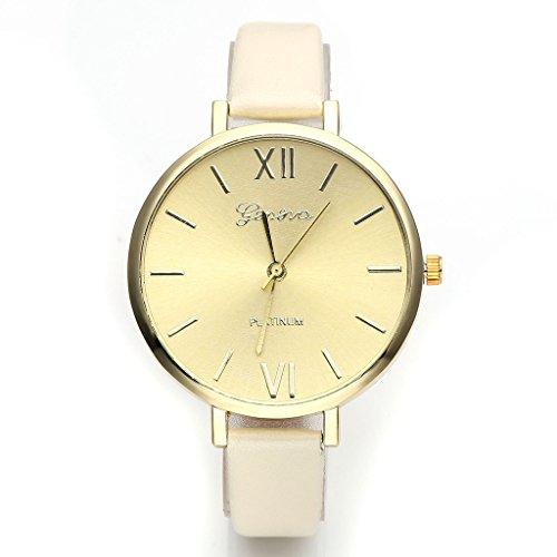 JSDDE-UhrenGenf-Elegante-Damen-Armbanduhr-XS-Slim-PU-Lederarmband-Ladies-Dress-Analog-Quarzuhr-Minimalismus-DamenuhrBeige-0