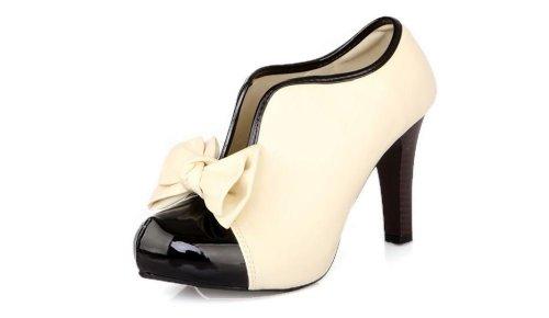 LATHPIN-Klassisch-Vintage-Damen-Schuhe-Pumps-High-Heels-Ankle-Boots-Brautschuhe-Stiletto-Party-mit-Schleife-Creme-0
