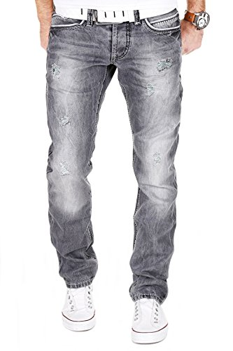 AMICA-by-MERISH-Herren-Jeans-Straight-Fit-Destroyed-Jeans-J9653-0