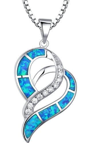 Arco-Iris-Schmuck-Sterling-Silber-Valentine-Herz-mit-Erstellt-Blau-und-Grn-Feuer-Opal-und-Zirkonia-Anhnger-Halskette-fr-Damen-mit-Italienisch-Kette-Box-45cm-Sc067n46-0