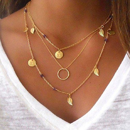Culater-Luxus-Mehrschicht-Simple-Blatt-Wulst-Pailletten-Ketten-Halskett-0