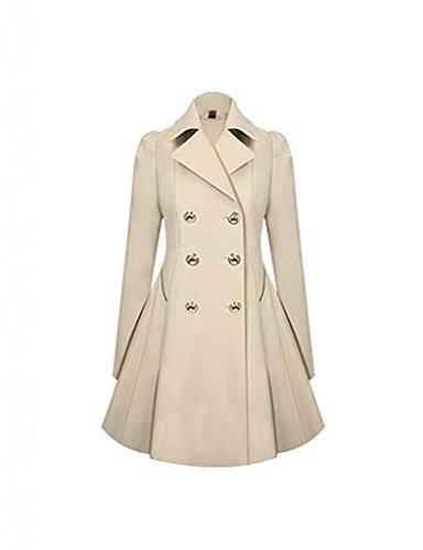 Damen-Elegante-Jacke-Mantel-Zweireihige-lange-Herbst-Trenchcoat-DR0616-0
