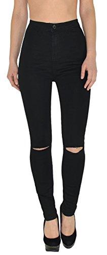 ad3abace432d Damen Jeans Hose Risse am Knie High Waist Damen Jeanshose Skinny Hochbund  Hose J184