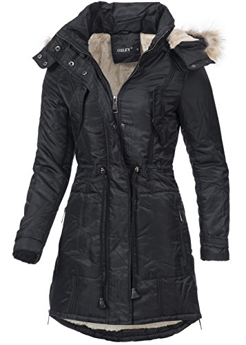 suche nach neuesten Premium-Auswahl beliebt kaufen in vogue Damen Wintermantel IV090, warmer Mantel mit Teddyfutter, Kapuze &  Webpelz, schwarz
